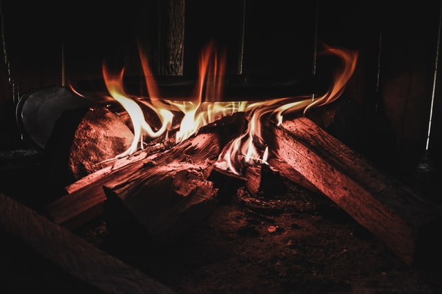 logs in the fireplace